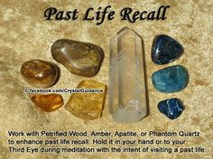 Crystals for Past Life Recall — Work with Petrified Wood, Amber, Apatite, or Phantom Quartz to enhance past life recall. Hold it in your hand or to your Third Eye during meditation with the intent of visiting a past life. Crystal Healing Stones, Crystal Magic, Crystal Grid, Crystals And Gemstones, Stones And Crystals, Gem Stones, Chakra Crystals, Phantom Quartz, Crystal Meanings
