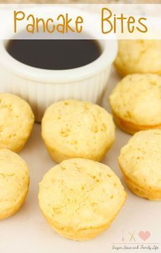 Pancake Bites are a fun, family friendly breakfast. Kids will enjoy being able to dip each mini pancake into their favorite pancake syrup or sauce. It is also an easy breakfast to make since the baked pancakes are made in a mini muffin pan. - Pancake Bites Recipe on Sugar, Spice and Family Life