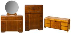 Lot 41: Waterfall Mahogany Bedroom Furniture Assortment; Including five drawer chest, three drawer dresser with mirror and cedar chest by Standard Line