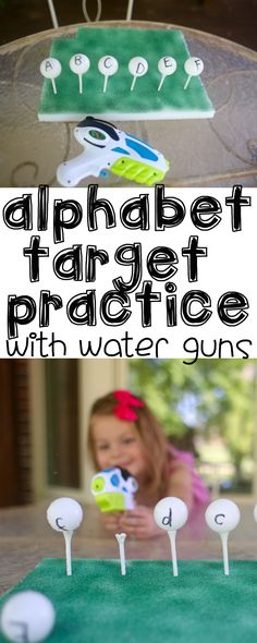 Alphabet Target Practice with Water Guns:  Such a fun outdoor learning activity for preschoolers that incorporates letter recognition and fine motor skills!