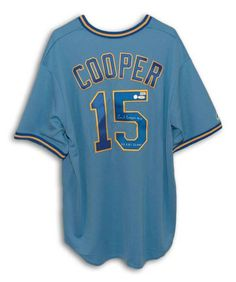 721166e4b2a Cecil Cooper Milwaukee Brewers Autographed Blue Majestic Jersey Inscribed