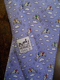 Hermes Paris Silk Tie Whimsical Pegasus Horse Jumper Clouds 5007 EA Blue France #HermesParis #Tie