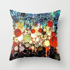 Contemporary Blue Orange Bubble Abstract by artaddiction45 #bedding #pillows #homedecor #abstract #art #geometric #design #orange #blue #yellow #decorative #modern #contemporary