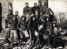 Centenary did have a Football Team.. In 1899! Here is their photo in November 1899 on the ruins of the original building.