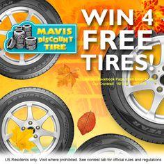 5 Days Left! Enter to Win 4 Free Tires from Mavis Discount Tire! http://www.facebook.com/mavisdiscounttire
