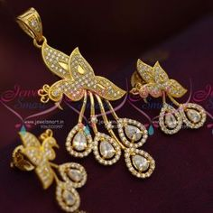 gold-plated-peacock-design-white-american-diamond-pendant-earrings-fashion-jewellery-buy-online