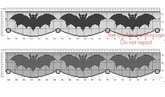 Crochet filet pattern Halloween border with bats - free filet crochet patterns download