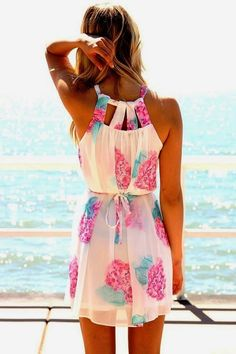Floral Neck Hold Summer Dress