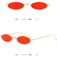 fashionstyle Fashion Vintage Unisex Classic Oval Sunglasses Metal Frame Eyewear Golden Red, Oval Sunglasses, Eyewear, Vintage Fashion, Unisex, Metal, Eyeglasses, Metals, Fashion Vintage