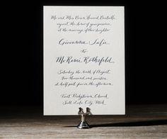 Navy letterpress wedding invitations featuring hand calligraphy by @Nicole Black Nicole Black