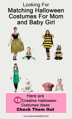 Looking for matching Halloween costumes for mom and baby daughter. Here's more than a dozen idea to help you out. Matching Halloween Costumes, Mom Costumes, Baby Girl Halloween Costumes, Creative Halloween Costumes, Baby Girl Photos, Baby Girl Names, Baby Girl Hairstyles, Cute Baby Girl Outfits, Mom And Baby