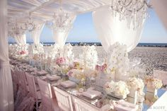 Spring blush pink and ivory beach wedding reception decorations Wedding Reception Table Decorations, Beach Wedding Reception, Spring Wedding, Destination Wedding, Wedding Ideas, Beach Weddings, Wedding Stuff, Wedding Inspiration, Tropical Weddings