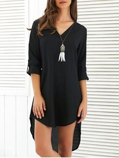 GET $50 NOW | Join RoseGal: Get YOUR $50 NOW!http://www.rosegal.com/chiffon-dresses/v-neck-asymmetrical-loose-fitting-dress-702535.html?seid=7278512rg702535