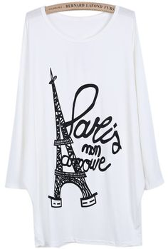 White Batwing Long Sleeve Eiffel Tower Letters Print T-Shirt pictures