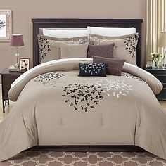 Dress your bedding in modern elegance with the Budz Comforter Set from Chic Home. The plush, plump bedding is adorned with a beautiful embroidered floral design that complements your bedroom& chic décor. Queen Comforter Sets, Bedding Sets, Taupe Comforter, Brown Bed Sets, Designer Bed Sheets, Home Decor Bedroom, Bed Spreads, Bed Pillows, Bed Linens