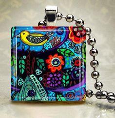 Yellow Bird Jewelry Necklace  Bird Charm by HeatherGallerArt, $28.00