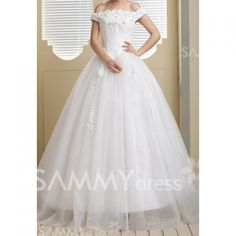 $107.30 Graceful Off the Shoulder Rhinestoned Appliques and Sequins Design Women's Bowknot Wedding Dress