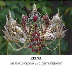#MermaidCrown | #FestivalCrown | Gold & Ruby Shell Crown ~ REINA. Etsy shop https://www.etsy.com/listing/588893926/mermaid-crown-festival-crown-ruby-gold
