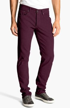 (A item - B1) Splendid Huxley Slim Straight Leg Corduroy Pants in Purple for Men (wine)