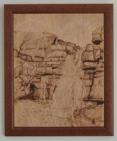 This pyrograph is of a waterfall on a tributary of the River Swale, North Yorkshire.
