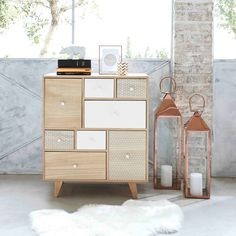 Cabinet 8 tiroirs en paulownia | Maisons du Monde