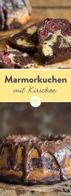 Warum nich beides miteinander kom… You like marble cake? And you love cherries? Why not combine both and look forward to a marble cake with cherries. Muffins Double Chocolat, No Bake Desserts, Dessert Recipes, Baking Recipes, Cookie Recipes, Baking Wallpaper, Marble Cake, Food Cakes, Cakes And More