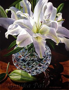 White Lilies and Crystal by Monika Pate Watercolor ~ 19 x 15