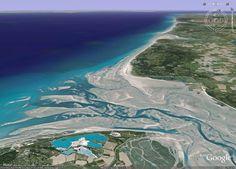 Vue Google Earth de la baie de Somme à marée basse
