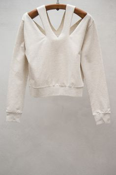 Cutout Neck Sweater — Off-white
