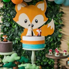 Trabalho incrível da Binca! Papelaria que eu amo!!! @detudodecor Fotografia: @drezzagomezfoto Baby Shower Deco, Shower Bebe, Baby Boy Shower, Forest Baby Showers, Star Baby Showers, Fox Party, Baby Party, Princess Theme Party, Baby Boy 1st Birthday