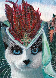 Here is Lady Snowshoe from my Cats In Hats series. She is dressed to the nines in her fancy feathered hat, silk veil and gold & emerald fleur de lis brooch. Lady Snowshoe is a princess, you can see her castle in the background.