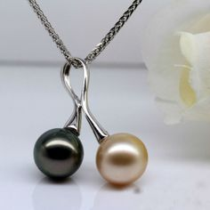 Golden South Sea & black Tahitian pearls pendant Tahitian Black Pearls, Pearl Pendant, Pearl Earrings, Sea, Silver, Jewelry, Style, Jewellery Making, Jewerly