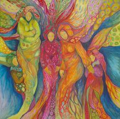 Encre, pastel gras, acrylique sur toile de 120/120cm. Artiste Patricia Mouton.