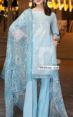Light Blue Lawn Suit | Buy Nishat Pakistani Dresses and Clothing online in USA, UK