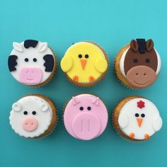 12 Farm Animal Cupcake Toppers-Fondant by bakerslovebakery on Etsy Fondant Cupcakes, Fondant Toppers, Cupcake Toppers, Cupcake Cakes, Creative Cake Decorating, Creative Cakes, Cookie Decorating, Farm Animal Cupcakes, Animal Cakes