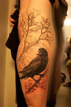 A raven in a mysterious morning, a beautiful raven tattoo design. #armtattoosdesigns