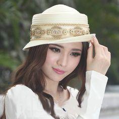 High Quality Elegant Church Fabric Twist Hat w/Jewel Accent White or Beige