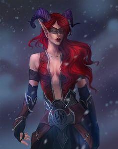 Fantasy Female Warrior, Fantasy Demon, Elves Fantasy, Dark Fantasy Art, Warrior 3, World Of Warcraft Characters, Dnd Characters, Fantasy Characters, Female Characters