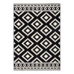 Teppich Ethno - Kunstfaser - Schwarz / Creme - 80 x 150 cm