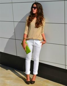 white pants, kitten heels