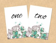 Green Flowers and Leaves DIY Wedding Table Numbers. Print from home