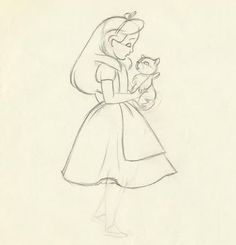 Alice animation drawing by Eric Larson – Art Drawing Tips Disney Character Sketches, Disney Sketches, Disney Drawings, Cartoon Drawings, Disney Characters, Disney Kunst, Arte Disney, Disney Tattoos, Cat Alice