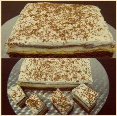 Zahar – 5 linguri (pentru blat I) + 8 linguri (pentru crema) Faina – 5 linguri (pentru blat I) + 2 linguri (pentru crema) Praf de copt – 1/2 lingurita (pentru blat I) Cacao – 2 linguri (pentru Romanian Desserts, Romanian Food, Sweets Recipes, Just Desserts, Cake Recipes, Pecan Bars, Dessert Drinks, Diy Food, Cheesecakes