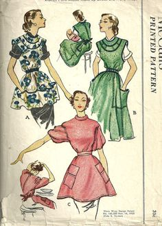 This is a vintage sewing pattern from McCall's, designed in The pattern makes a smock/apron for all sizes. It has been cut and is complete including instructions. One pattern piece has been taped. Vintage Dress Patterns, Clothing Patterns, Vintage Dresses, Vintage Outfits, Vintage Fashion, Wrap Clothing, Love Clothing, Vintage Clothing, Patron Vintage