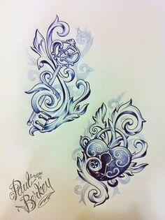 """Tattoo Ideas: His and Her tattoos! By Paul Berkey There's no way Herb would do this, but I love the """"hers"""", just the same!!!"""
