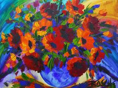 Cornelius Bosch (SA 1956 - Oil, Still Life Flowers in a Blue . Still Life Flowers, South African Artists, Cornelius, Famous Artists, All Art, Poppies, Watercolor Paintings, Art Price, Artworks