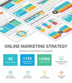 Online Marketing Strategy PowerPoint Template Online Marketing Tools, Online Marketing Strategies, Professional Powerpoint Templates, Powerpoint Presentation Templates, Marketing Strategy Template, Search Engine Marketing, Slide Design, The Help