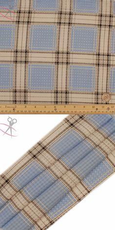 Pink per metre Blue Tartan Flannelette Fabric 108cm Wide