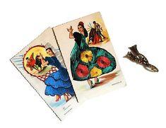 Vintage Spanish Silk Embroidered Postcards Flamenco Dancers