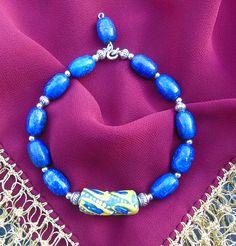 Lapis Lazuli & African Glass beads of Ghana handicraft